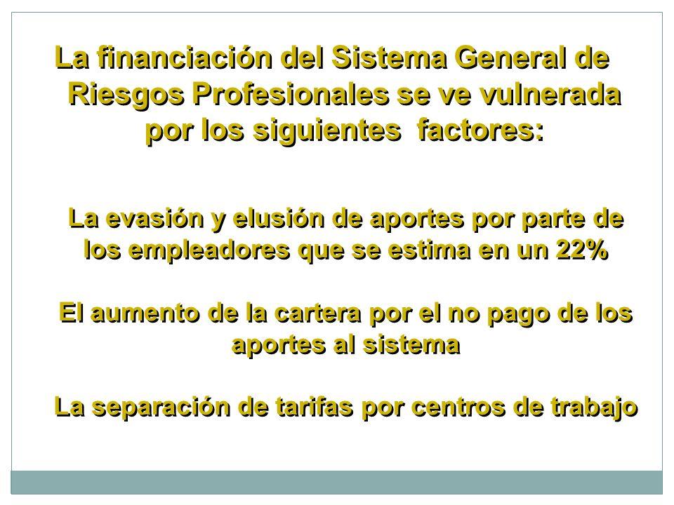 La financiación del Sistema General de Riesgos Profesionales se ve vulnerada por los siguientes factores: La evasión y elusión de aportes por parte de