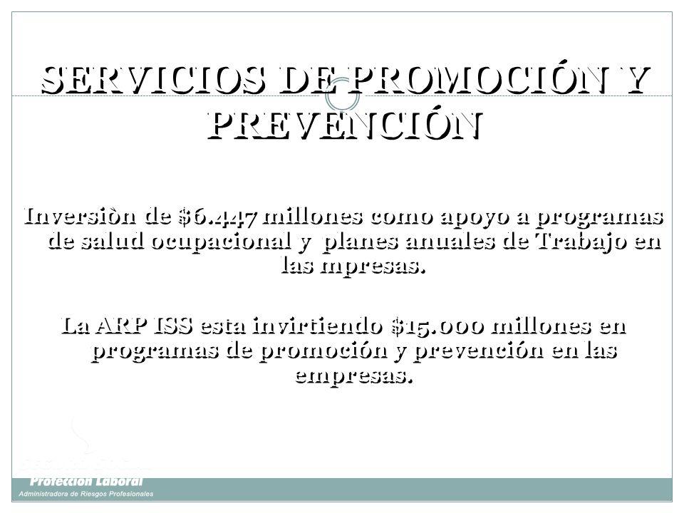 SERVICIOS DE PROMOCIÓN Y PREVENCIÓN Inversiòn de $6.447 millones como apoyo a programas de salud ocupacional y planes anuales de Trabajo en las mpresa