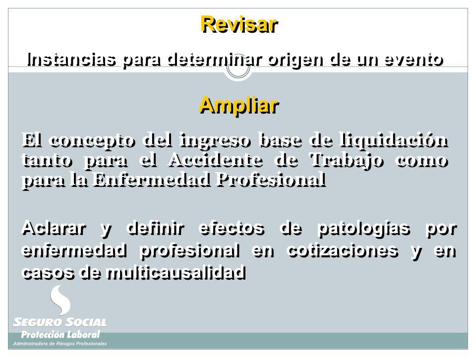 El concepto del ingreso base de liquidación tanto para el Accidente de Trabajo como para la Enfermedad Profesional Ampliar Revisar Instancias para det