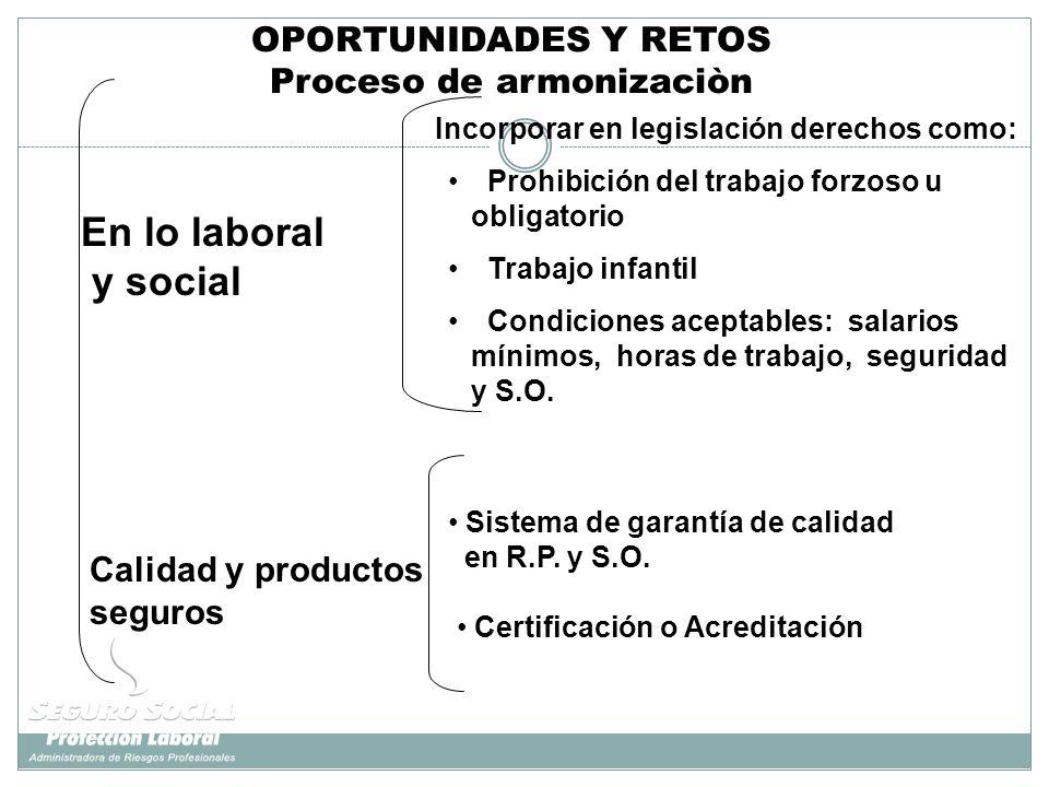 Calidad y productos seguros En lo laboral y social Incorporar en legislación derechos como: Sistema de garantía de calidad en R.P. y S.O. Certificació