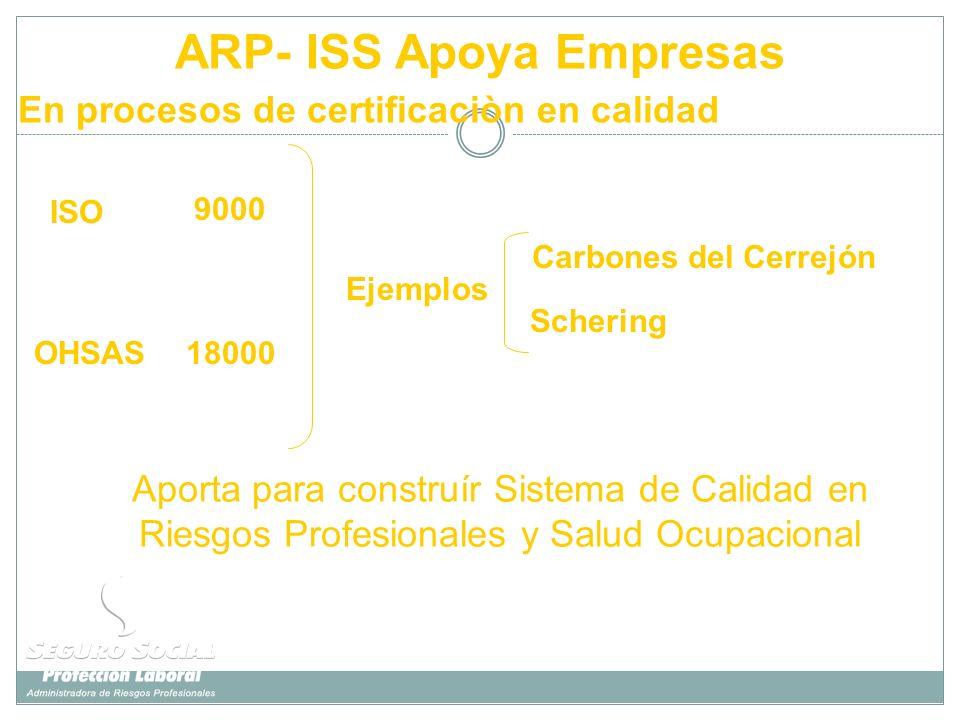 ARP- ISS Apoya Empresas ISO 18000 9000 Ejemplos Schering Carbones del Cerrejón OHSAS Aporta para construír Sistema de Calidad en Riesgos Profesionales