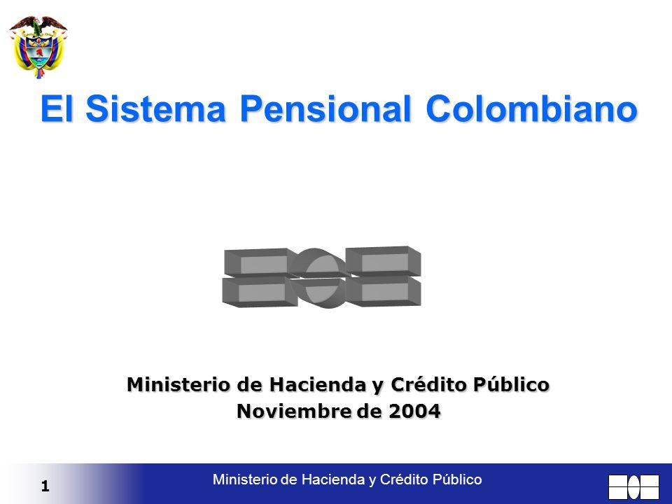 1 Ministerio de Hacienda y Crédito Público El Sistema Pensional Colombiano Ministerio de Hacienda y Crédito Público Noviembre de 2004