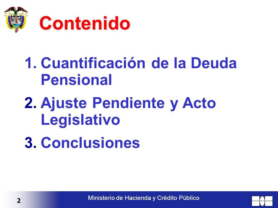 2 Ministerio de Hacienda y Crédito Público Contenido 1.Cuantificación de la Deuda Pensional 2.Ajuste Pendiente y Acto Legislativo 3.Conclusiones