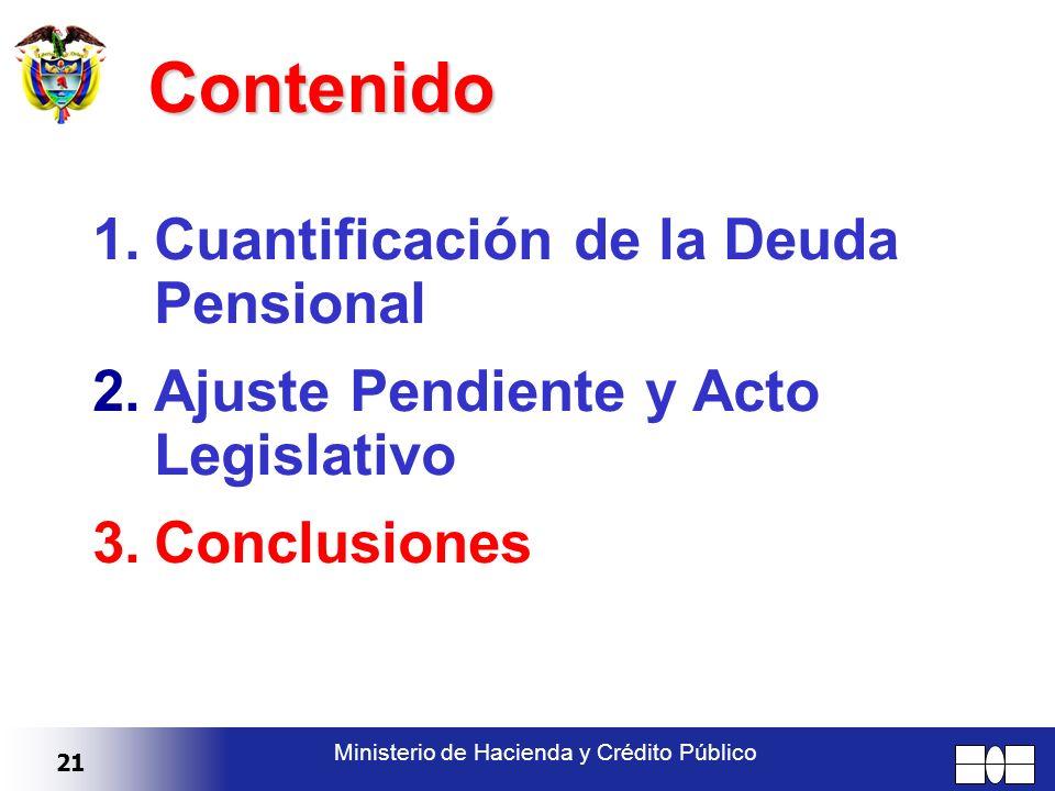 21 Ministerio de Hacienda y Crédito Público Contenido 1.Cuantificación de la Deuda Pensional 2.Ajuste Pendiente y Acto Legislativo 3.Conclusiones