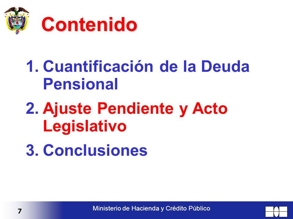 7 Ministerio de Hacienda y Crédito Público Contenido 1.Cuantificación de la Deuda Pensional 2.Ajuste Pendiente y Acto Legislativo 3.Conclusiones