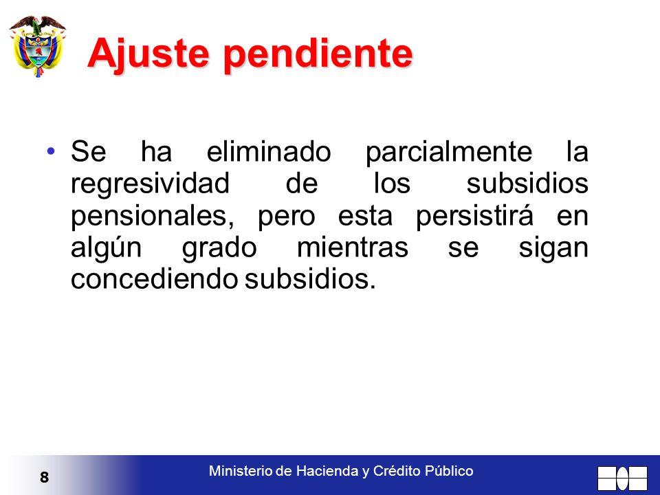 8 Ministerio de Hacienda y Crédito Público Se ha eliminado parcialmente la regresividad de los subsidios pensionales, pero esta persistirá en algún gr