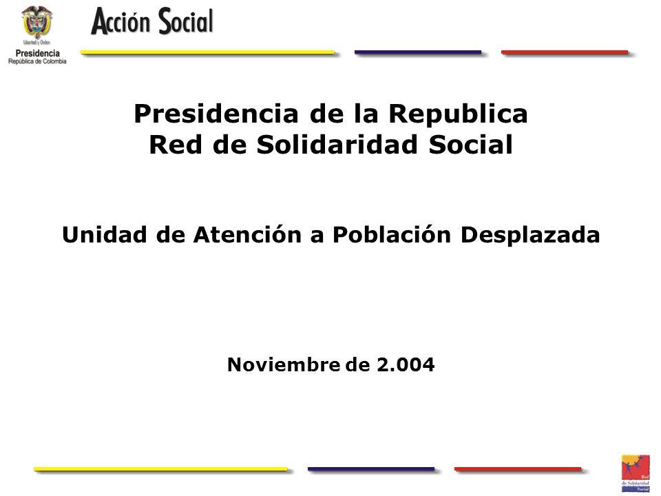 Presidencia de la Republica Red de Solidaridad Social Unidad de Atención a Población Desplazada Noviembre de 2.004