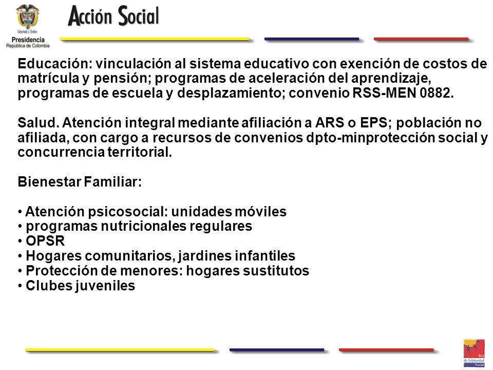Educación: vinculación al sistema educativo con exención de costos de matrícula y pensión; programas de aceleración del aprendizaje, programas de escu