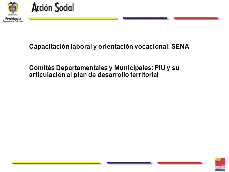 Capacitación laboral y orientación vocacional: SENA Comités Departamentales y Municipales: PIU y su articulación al plan de desarrollo territorial