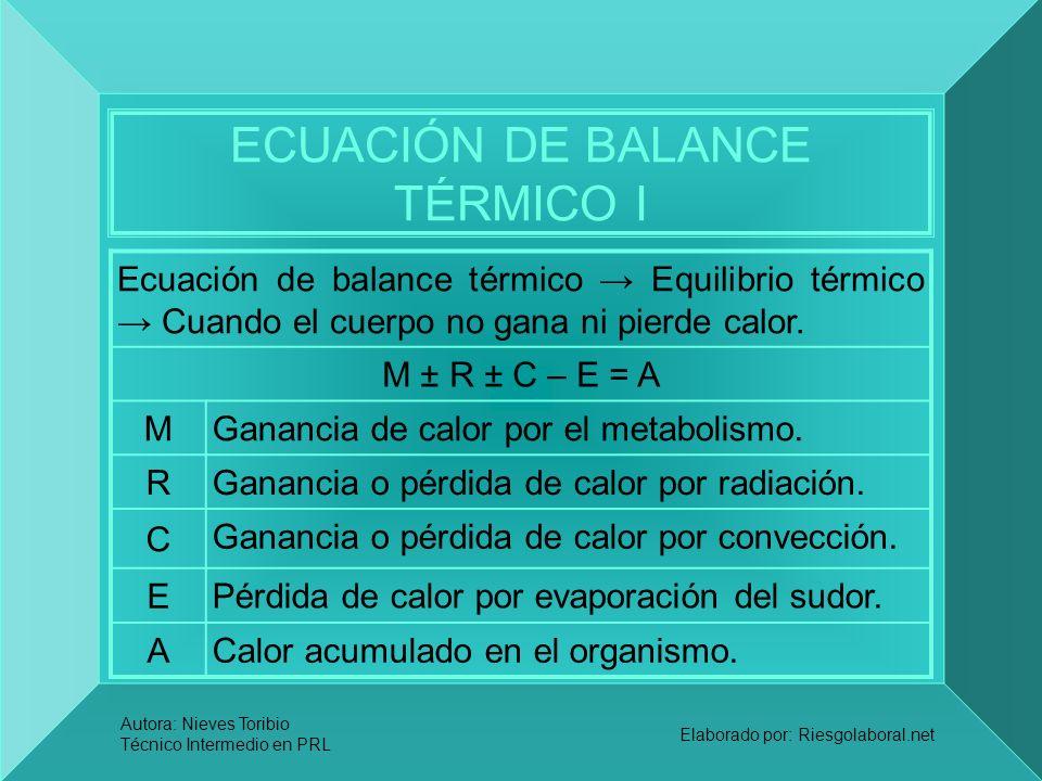 Autora: Nieves Toribio Técnico Intermedio en PRL Elaborado por: Riesgolaboral.net ECUACIÓN DE BALANCE TÉRMICO I Ecuación de balance térmico Equilibrio