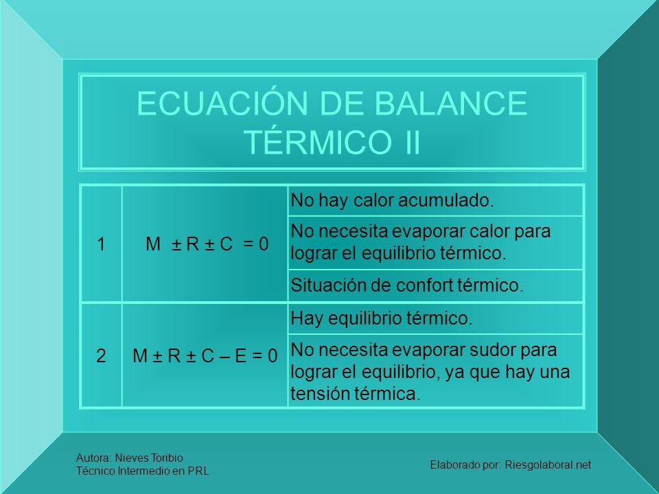 Autora: Nieves Toribio Técnico Intermedio en PRL Elaborado por: Riesgolaboral.net ECUACIÓN DE BALANCE TÉRMICO II 1 M ± R ± C = 0 No hay calor acumulad
