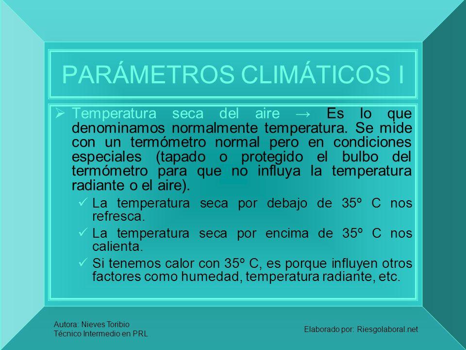 Autora: Nieves Toribio Técnico Intermedio en PRL Elaborado por: Riesgolaboral.net PARÁMETROS CLIMÁTICOS I Temperatura seca del aire Es lo que denomina