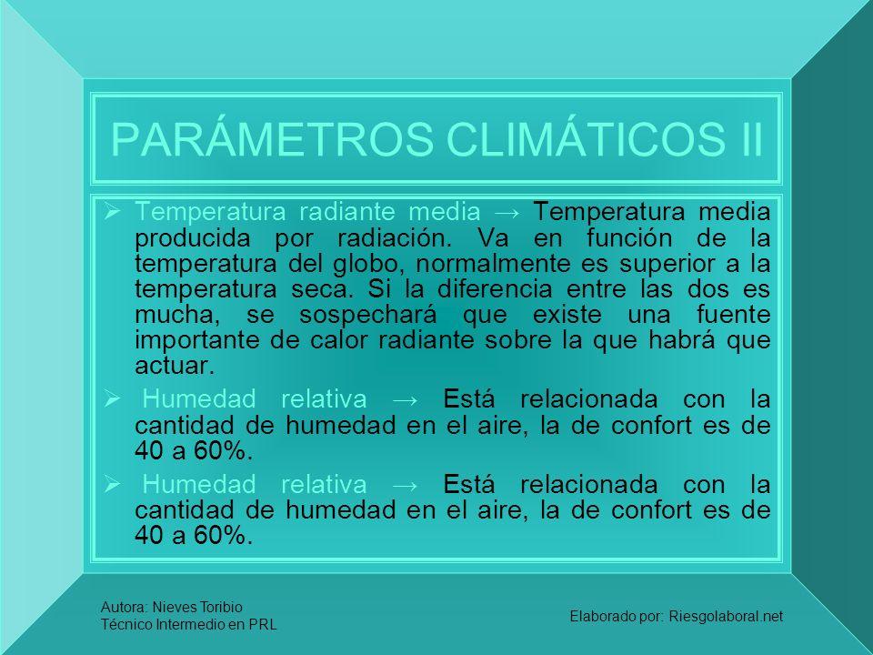 Autora: Nieves Toribio Técnico Intermedio en PRL Elaborado por: Riesgolaboral.net PARÁMETROS CLIMÁTICOS II Temperatura radiante media Temperatura medi