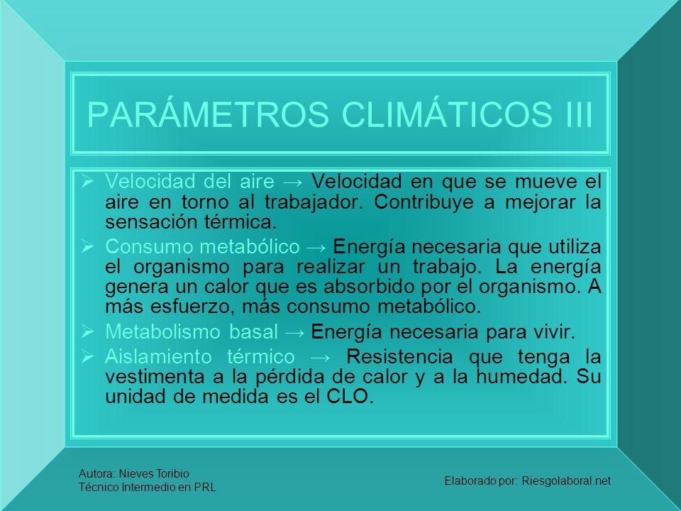 Autora: Nieves Toribio Técnico Intermedio en PRL Elaborado por: Riesgolaboral.net PARÁMETROS CLIMÁTICOS III Velocidad del aire Velocidad en que se mue