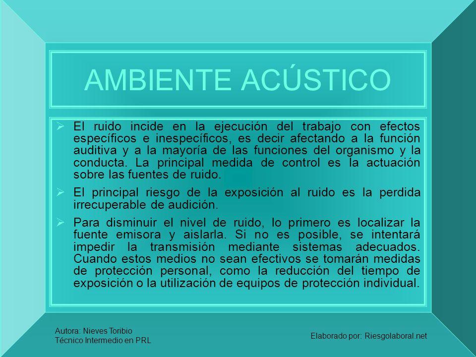 Autora: Nieves Toribio Técnico Intermedio en PRL Elaborado por: Riesgolaboral.net AMBIENTE ACÚSTICO El ruido incide en la ejecución del trabajo con ef