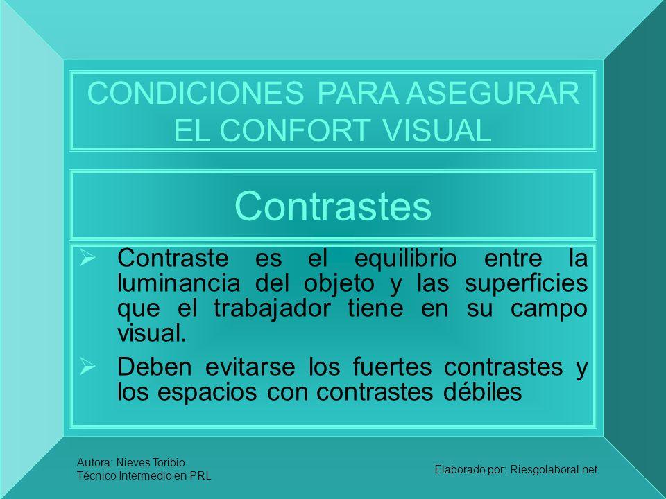 Autora: Nieves Toribio Técnico Intermedio en PRL Elaborado por: Riesgolaboral.net Contrastes Contraste es el equilibrio entre la luminancia del objeto