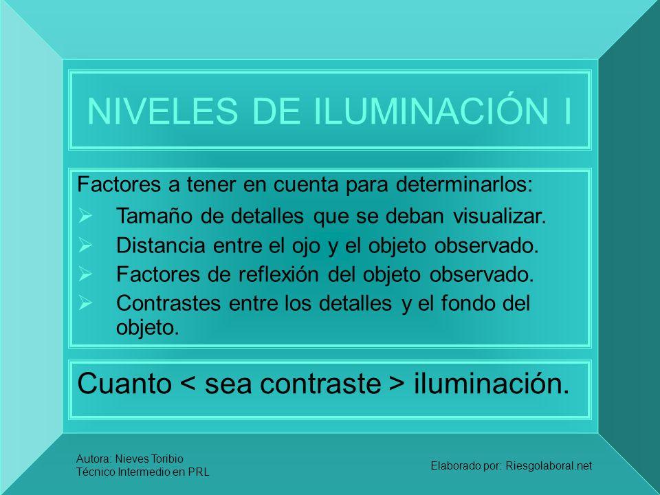 Autora: Nieves Toribio Técnico Intermedio en PRL Elaborado por: Riesgolaboral.net NIVELES DE ILUMINACIÓN I Cuanto iluminación. Factores a tener en cue