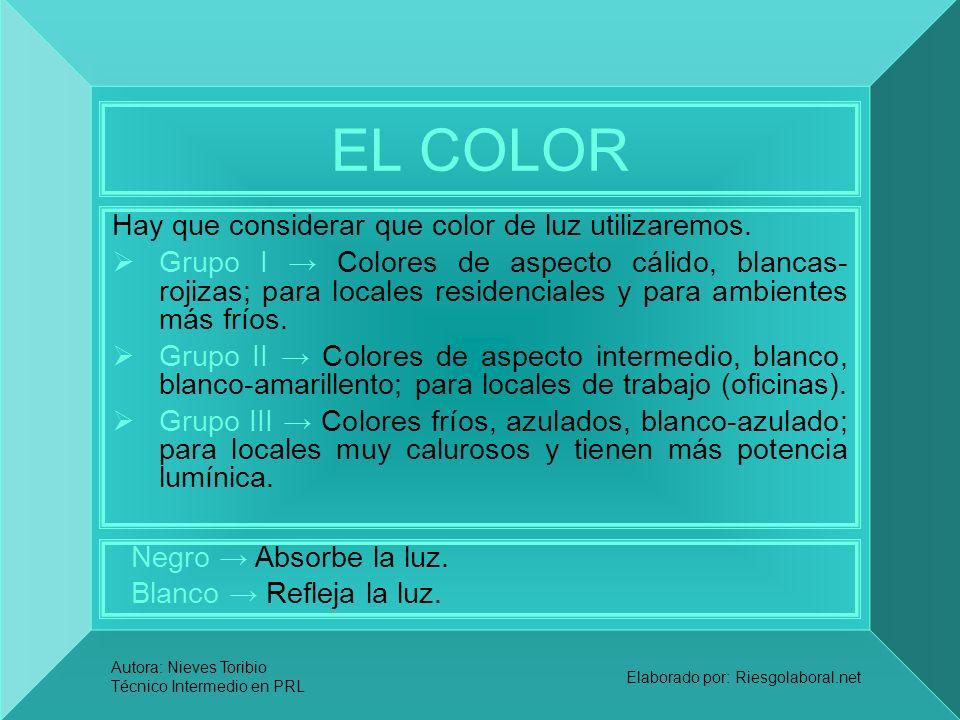 Autora: Nieves Toribio Técnico Intermedio en PRL Elaborado por: Riesgolaboral.net EL COLOR Hay que considerar que color de luz utilizaremos. Grupo I C