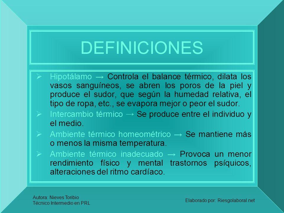 Autora: Nieves Toribio Técnico Intermedio en PRL Elaborado por: Riesgolaboral.net DEFINICIONES Hipotálamo Controla el balance térmico, dilata los vaso