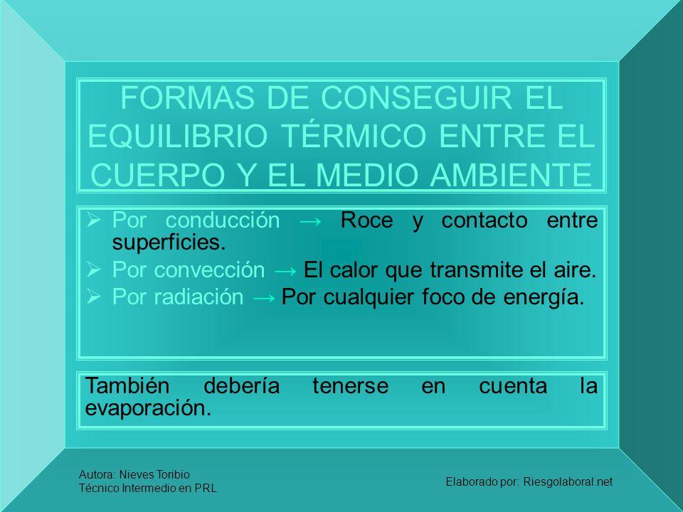 Autora: Nieves Toribio Técnico Intermedio en PRL Elaborado por: Riesgolaboral.net FORMAS DE CONSEGUIR EL EQUILIBRIO TÉRMICO ENTRE EL CUERPO Y EL MEDIO