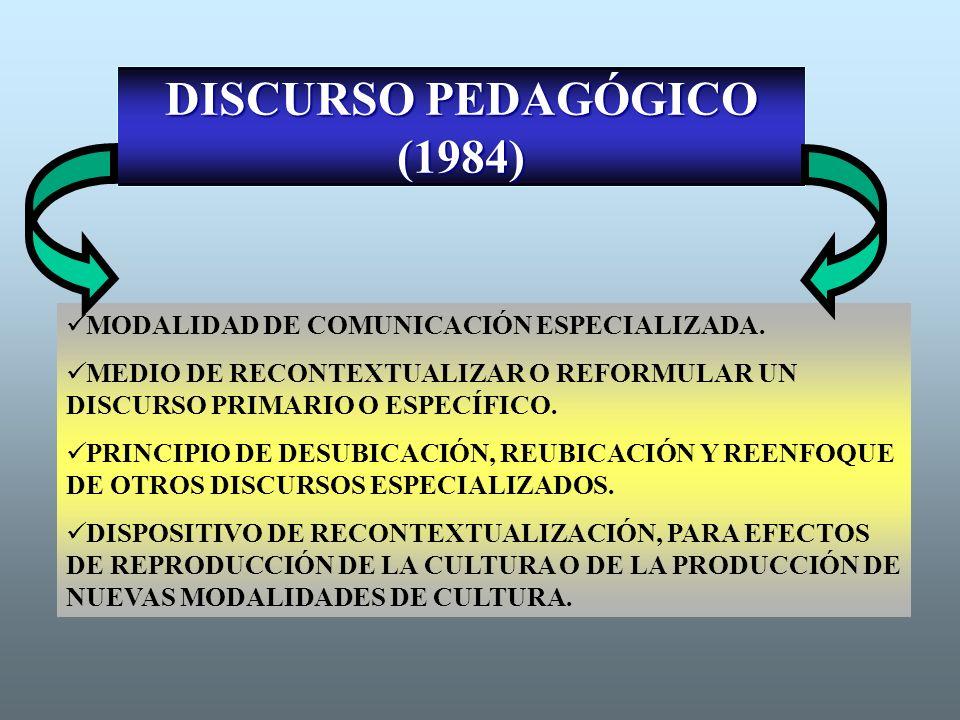 DISCURSO PEDAGÓGICO (1984) MODALIDAD DE COMUNICACIÓN ESPECIALIZADA. MEDIO DE RECONTEXTUALIZAR O REFORMULAR UN DISCURSO PRIMARIO O ESPECÍFICO. PRINCIPI