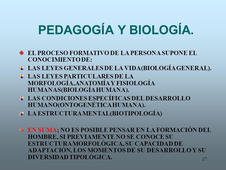 27 PEDAGOGÍA Y BIOLOGÍA. EL PROCESO FORMATIVO DE LA PERSONA SUPONE EL CONOCIMIENTO DE: LAS LEYES GENERALES DE LA VIDA(BIOLOGÍA GENERAL). LAS LEYES PAR