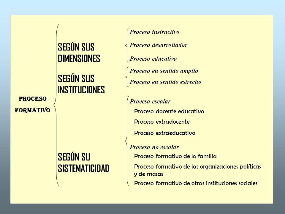 PROCESO FORMATIVO SEGÚN SUS DIMENSIONES SEGÚN SUS INSTITUCIONES SEGÚN SU SISTEMATICIDAD Proceso instructivo Proceso desarrollador Proceso educativo Pr