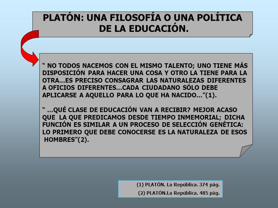 PLATÓN: UNA FILOSOFÍA O UNA POLÍTICA DE LA EDUCACIÓN. NO TODOS NACEMOS CON EL MISMO TALENTO; UNO TIENE MÁS DISPOSICIÓN PARA HACER UNA COSA Y OTRO LA T