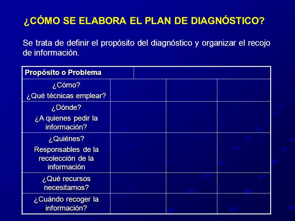 ¿CÓMO SE ELABORA EL PLAN DE DIAGNÓSTICO? Se trata de definir el propósito del diagnóstico y organizar el recojo de información. Propósito o Problema ¿