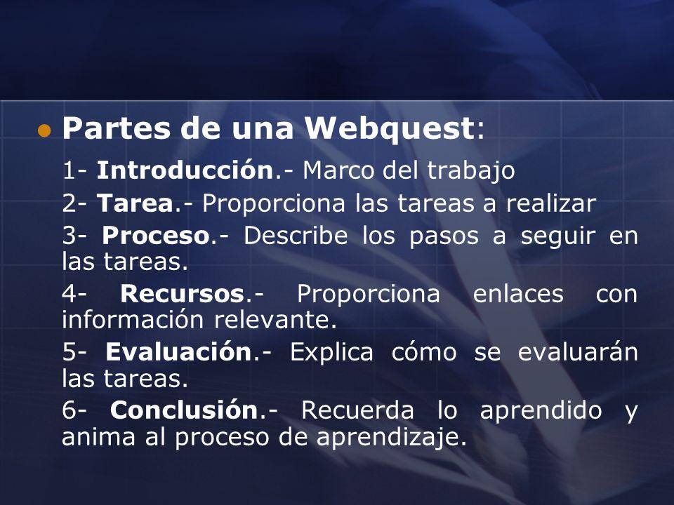 Partes de una Webquest: 1- Introducción.- Marco del trabajo 2- Tarea.- Proporciona las tareas a realizar 3- Proceso.- Describe los pasos a seguir en l