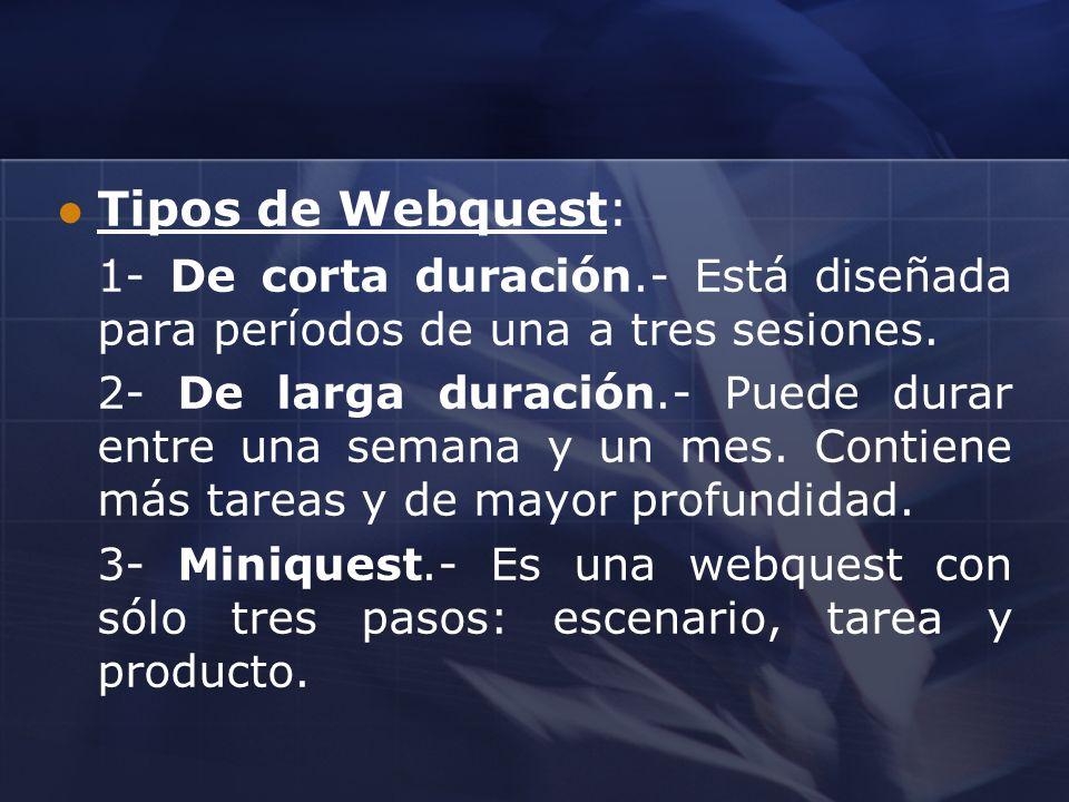 Tipos de Webquest: 1- De corta duración.- Está diseñada para períodos de una a tres sesiones. 2- De larga duración.- Puede durar entre una semana y un