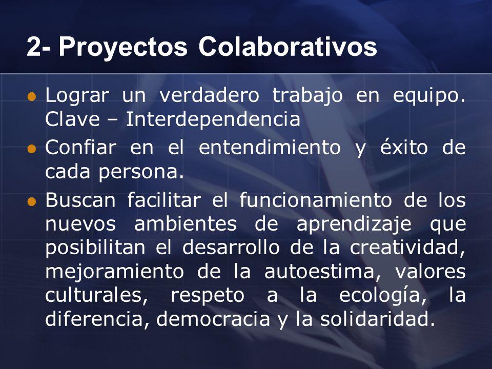 2- Proyectos Colaborativos Lograr un verdadero trabajo en equipo. Clave – Interdependencia Confiar en el entendimiento y éxito de cada persona. Buscan