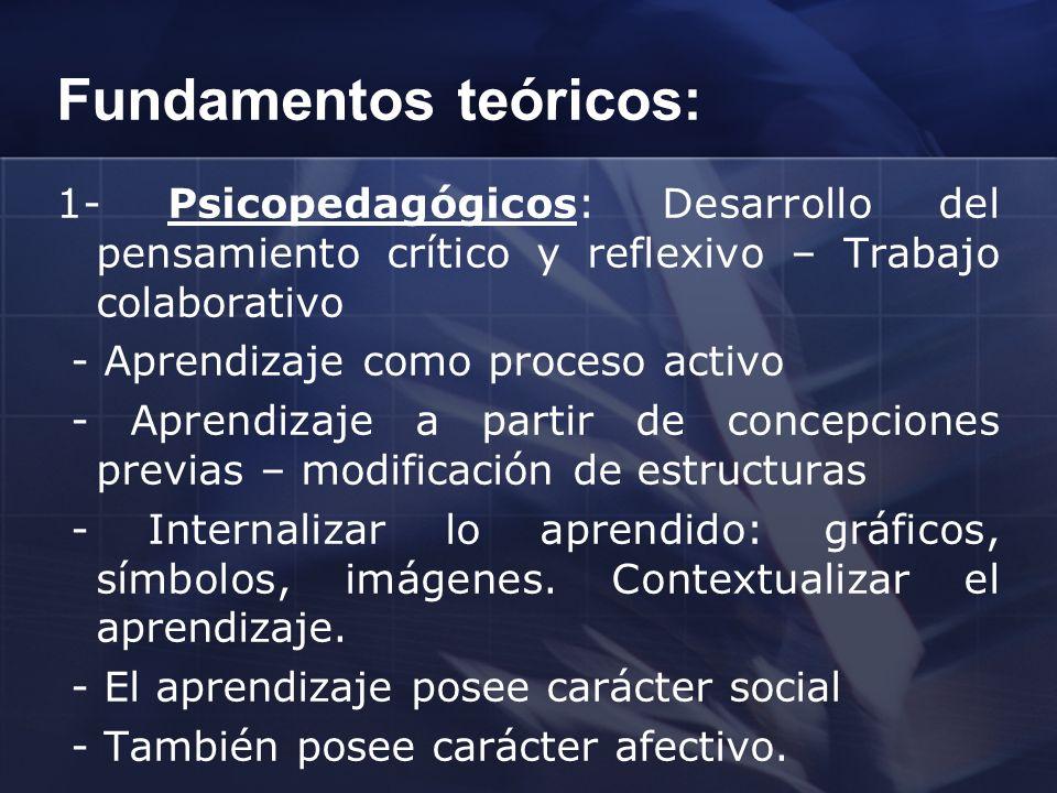 Fundamentos teóricos: 1- Psicopedagógicos: Desarrollo del pensamiento crítico y reflexivo – Trabajo colaborativo - Aprendizaje como proceso activo - A