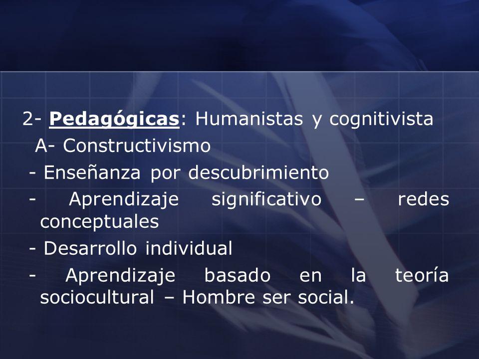 2- Pedagógicas: Humanistas y cognitivista A- Constructivismo - Enseñanza por descubrimiento - Aprendizaje significativo – redes conceptuales - Desarro