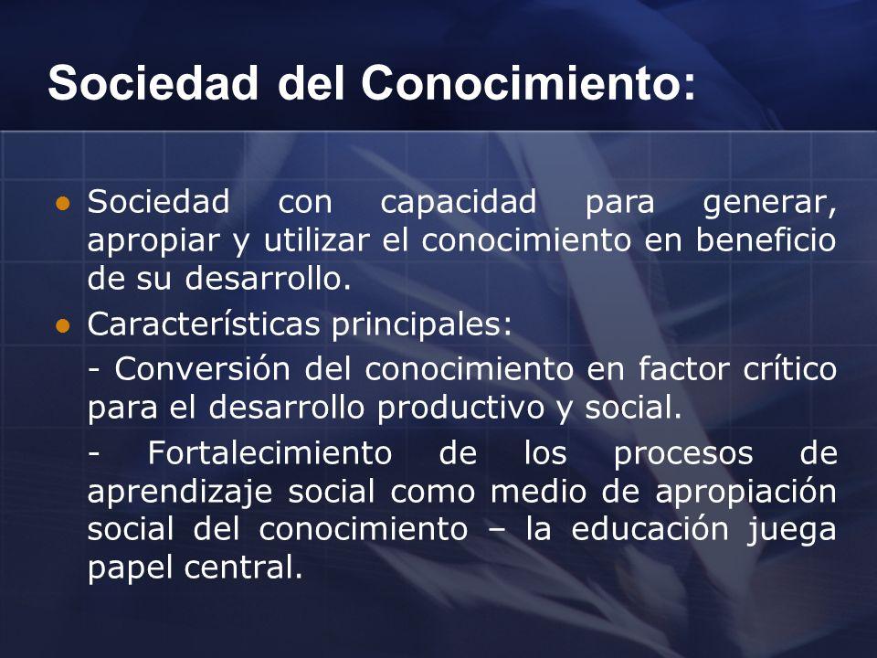Sociedad del Conocimiento: Sociedad con capacidad para generar, apropiar y utilizar el conocimiento en beneficio de su desarrollo. Características pri