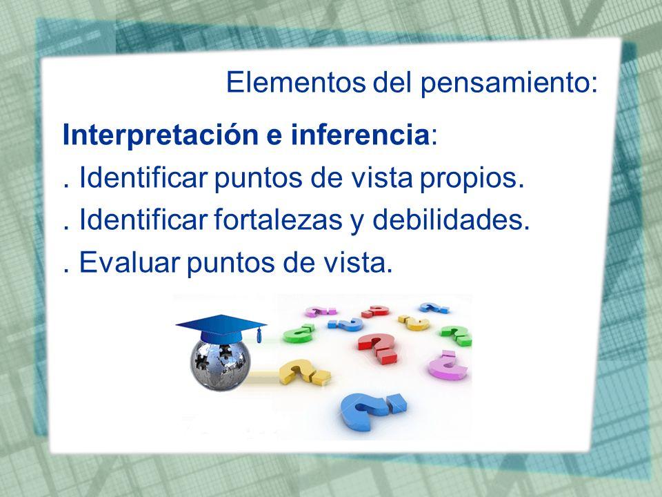 Elementos del pensamiento: Interpretación e inferencia:. Identificar puntos de vista propios.. Identificar fortalezas y debilidades.. Evaluar puntos d