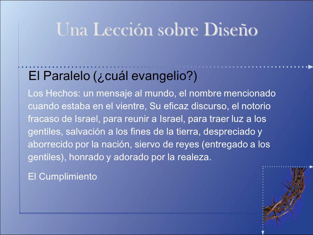 El Paralelo (¿cuál evangelio?) Los Hechos: un mensaje al mundo, el nombre mencionado cuando estaba en el vientre, Su eficaz discurso, el notorio fraca