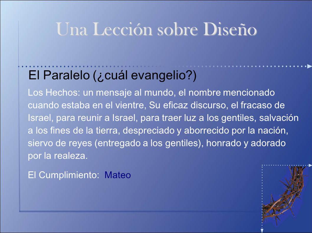 El Paralelo (¿cuál evangelio?) Los Hechos: un mensaje al mundo, el nombre mencionado cuando estaba en el vientre, Su eficaz discurso, el fracaso de Is