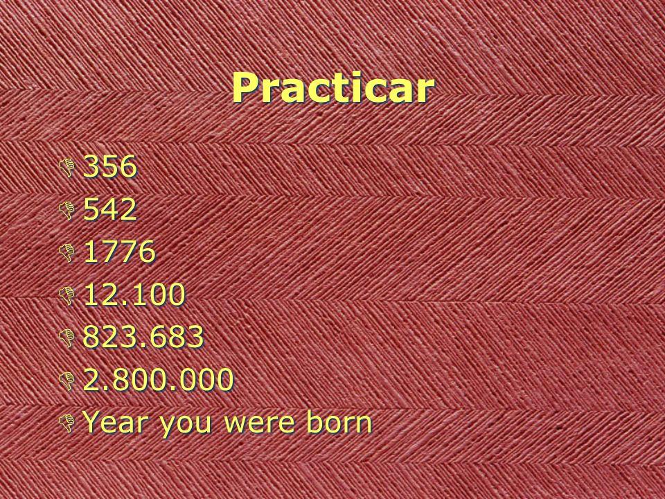 Practicar D356 D542 D1776 D12.100 D823.683 D2.800.000 DYear you were born D356 D542 D1776 D12.100 D823.683 D2.800.000 DYear you were born