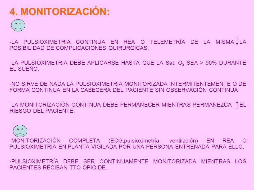 4. MONITORIZACIÓN: -LA PULSIOXIMETRÍA CONTINUA EN REA O TELEMETRÍA DE LA MISMA LA POSIBILIDAD DE COMPLICACIONES QUIRÚRGICAS. -LA PULSIOXIMETRÍA DEBE A