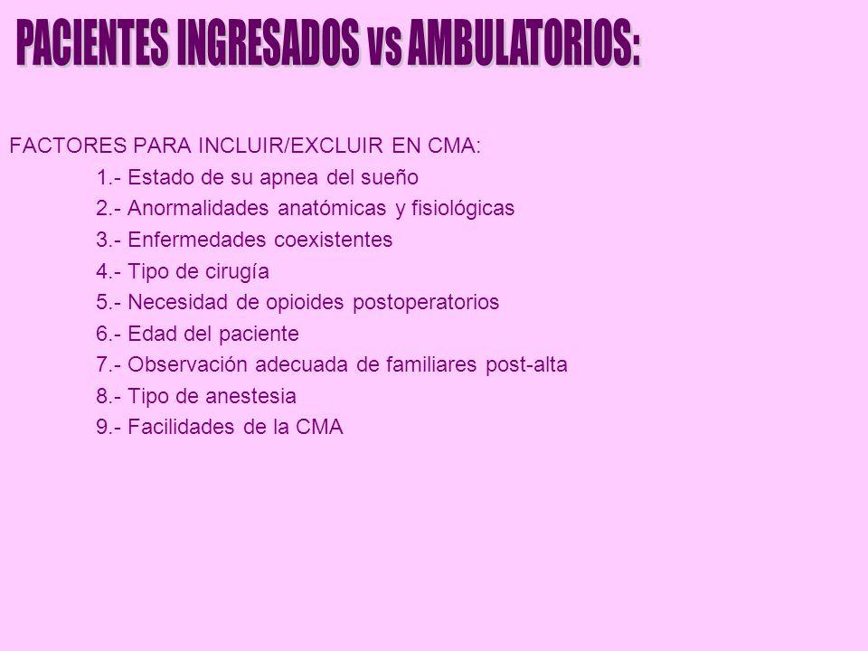 FACTORES PARA INCLUIR/EXCLUIR EN CMA: 1.- Estado de su apnea del sueño 2.- Anormalidades anatómicas y fisiológicas 3.- Enfermedades coexistentes 4.- T