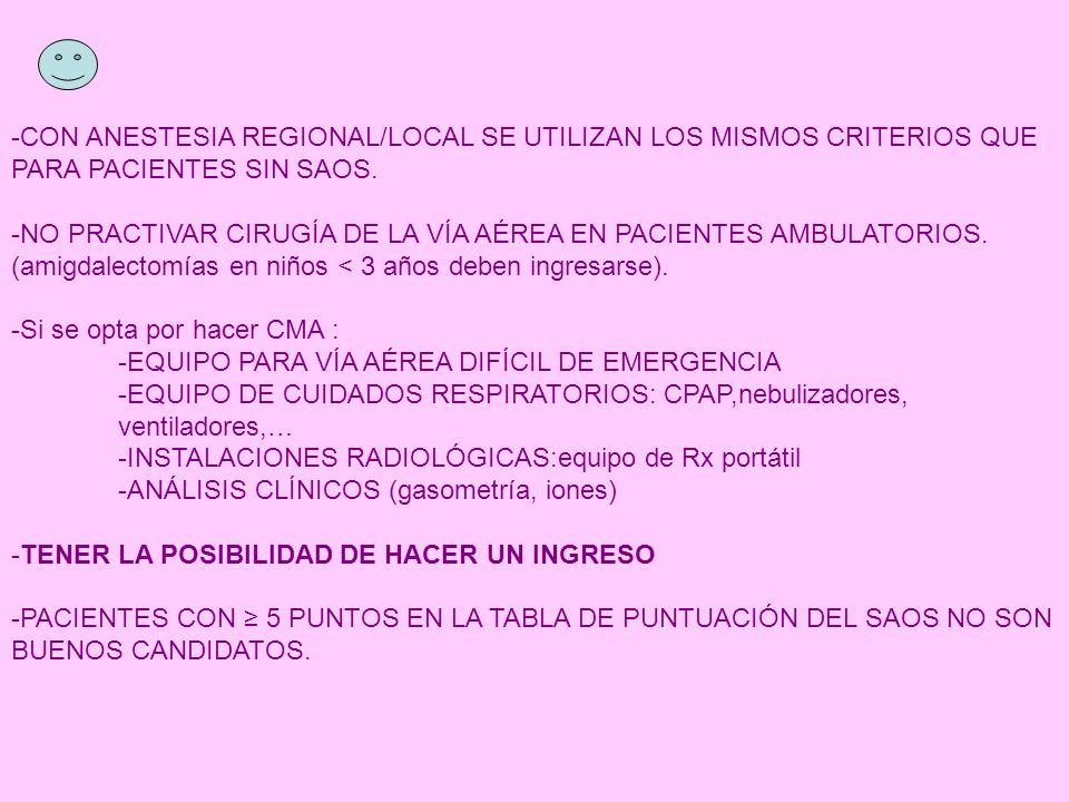 -CON ANESTESIA REGIONAL/LOCAL SE UTILIZAN LOS MISMOS CRITERIOS QUE PARA PACIENTES SIN SAOS. -NO PRACTIVAR CIRUGÍA DE LA VÍA AÉREA EN PACIENTES AMBULAT