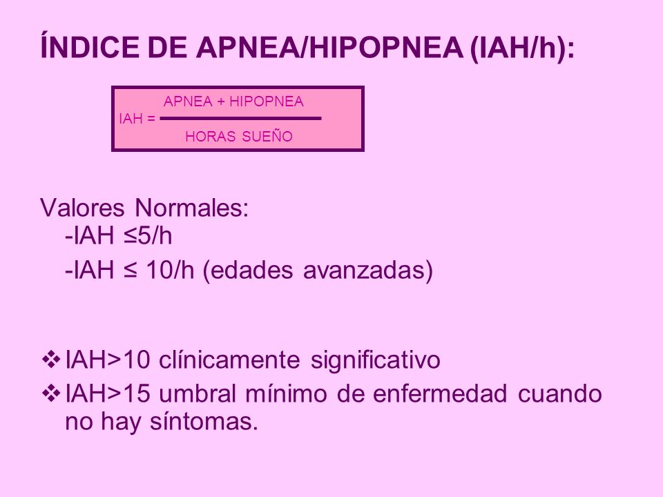 ÍNDICE DE APNEA/HIPOPNEA (IAH/h): Valores Normales: -IAH 5/h -IAH 10/h (edades avanzadas) IAH>10 clínicamente significativo IAH>15 umbral mínimo de en
