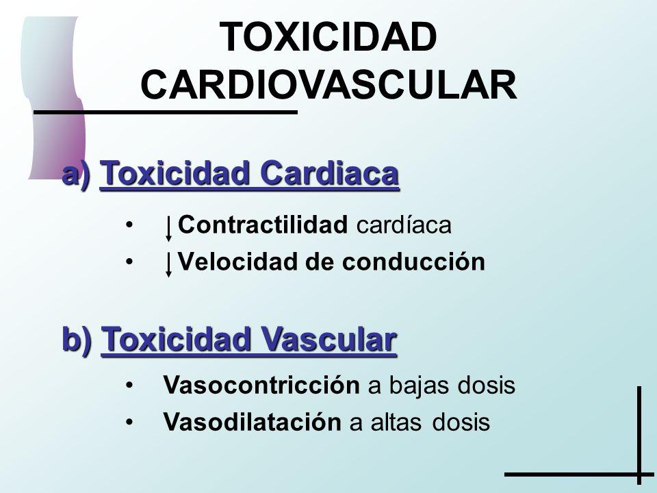 TOXICIDAD CARDIOVASCULAR a) Toxicidad Cardiaca Contractilidad cardíaca Velocidad de conducción b) Toxicidad Vascular Vasocontricción a bajas dosis Vas