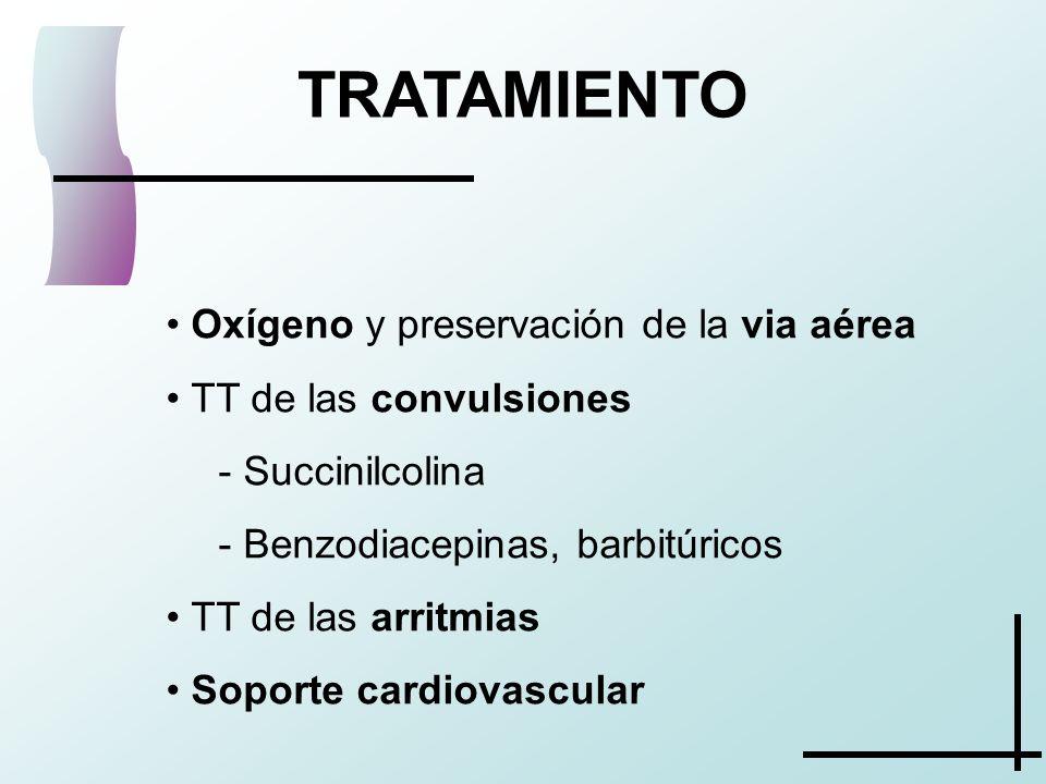 TRATAMIENTO Oxígeno y preservación de la via aérea TT de las convulsiones - Succinilcolina - Benzodiacepinas, barbitúricos TT de las arritmias Soporte