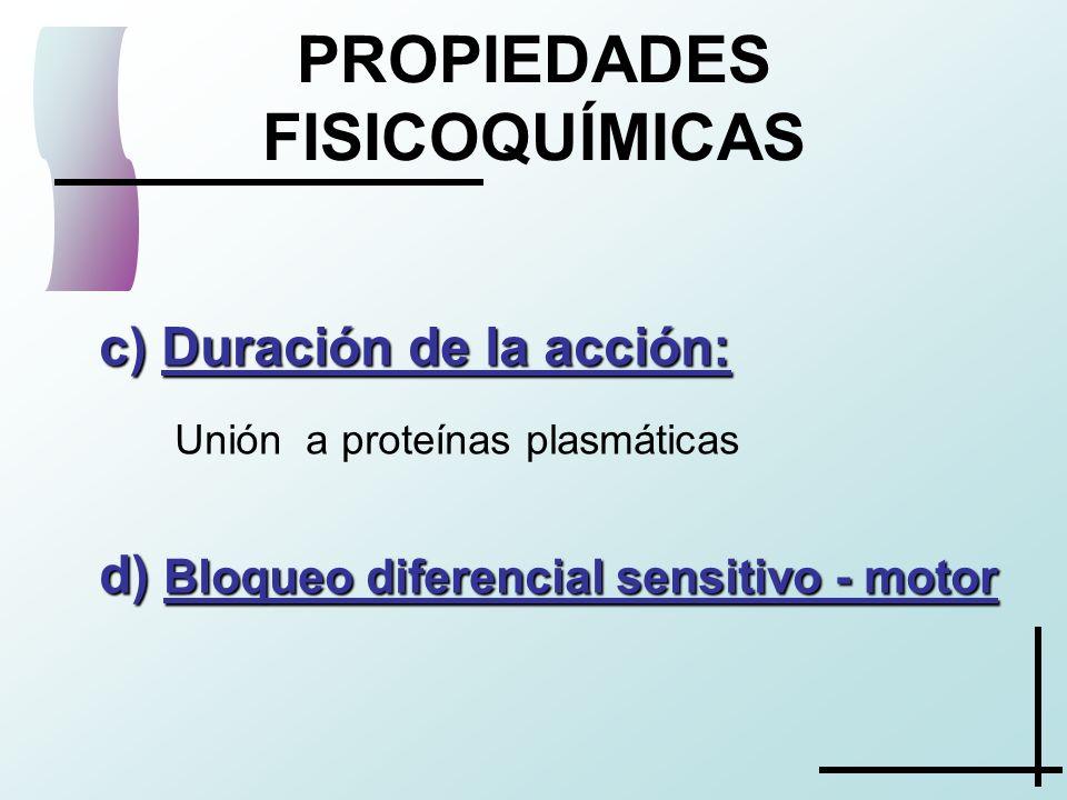 c) Duración de la acción: PROPIEDADES FISICOQUÍMICAS Unión a proteínas plasmáticas d) Bloqueo diferencial sensitivo - motor