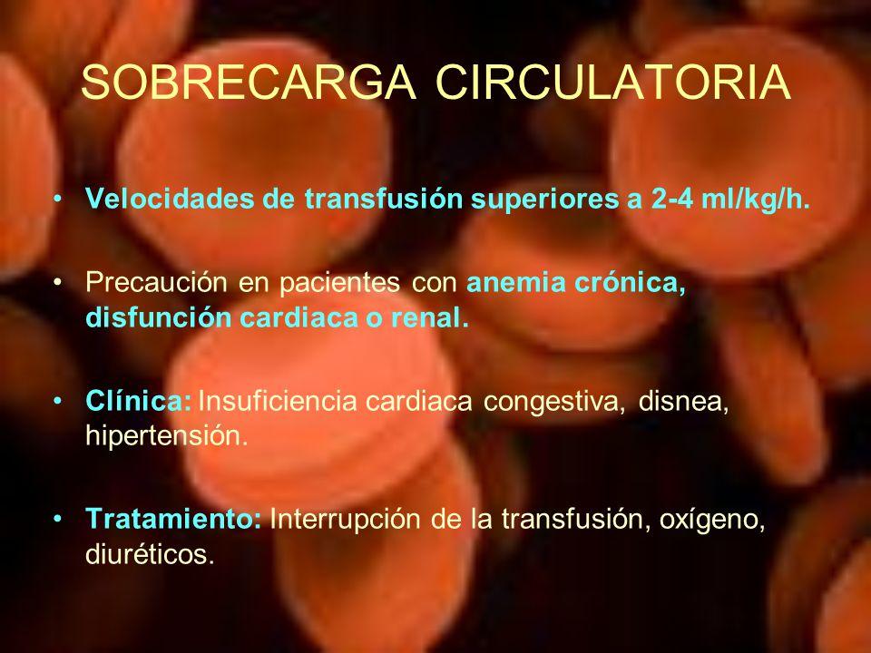 SOBRECARGA CIRCULATORIA Velocidades de transfusión superiores a 2-4 ml/kg/h. Precaución en pacientes con anemia crónica, disfunción cardiaca o renal.