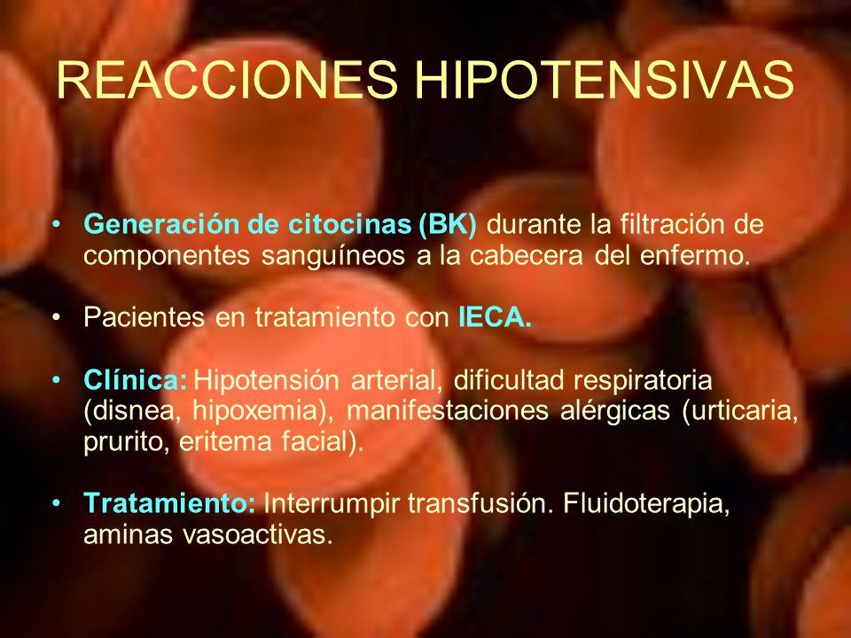 REACCIONES HIPOTENSIVAS Generación de citocinas (BK) durante la filtración de componentes sanguíneos a la cabecera del enfermo. Pacientes en tratamien