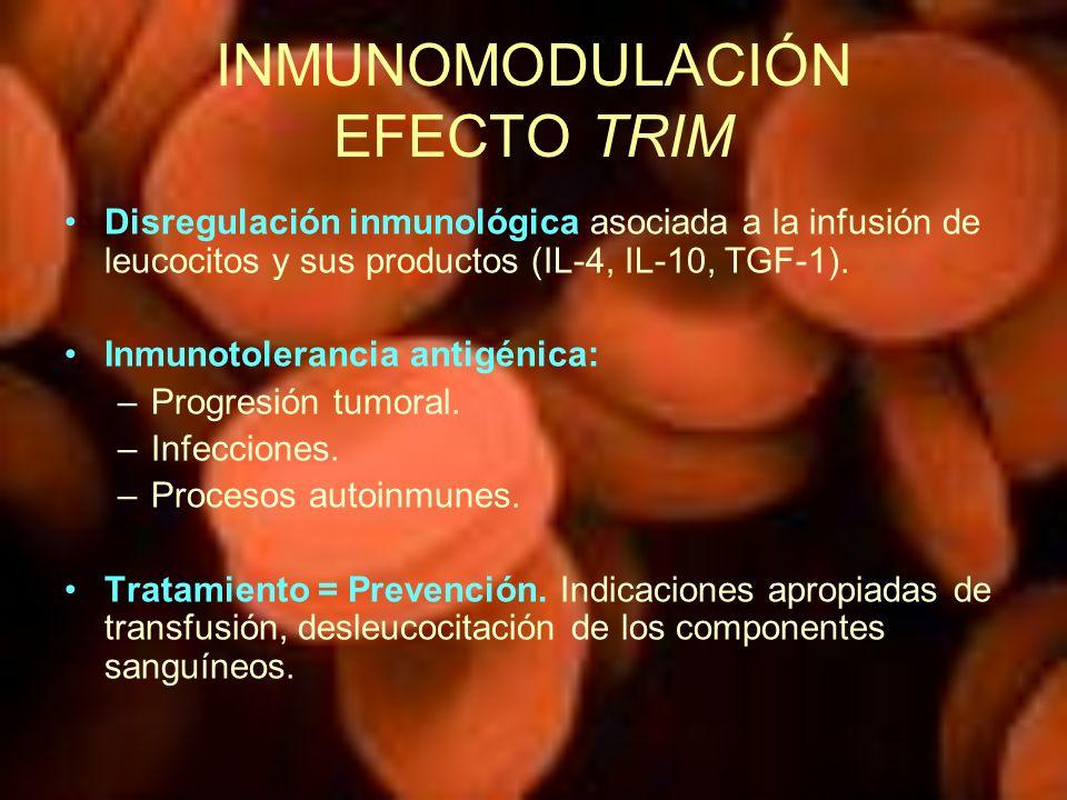 INMUNOMODULACIÓN EFECTO TRIM Disregulación inmunológica asociada a la infusión de leucocitos y sus productos (IL-4, IL-10, TGF-1). Inmunotolerancia an