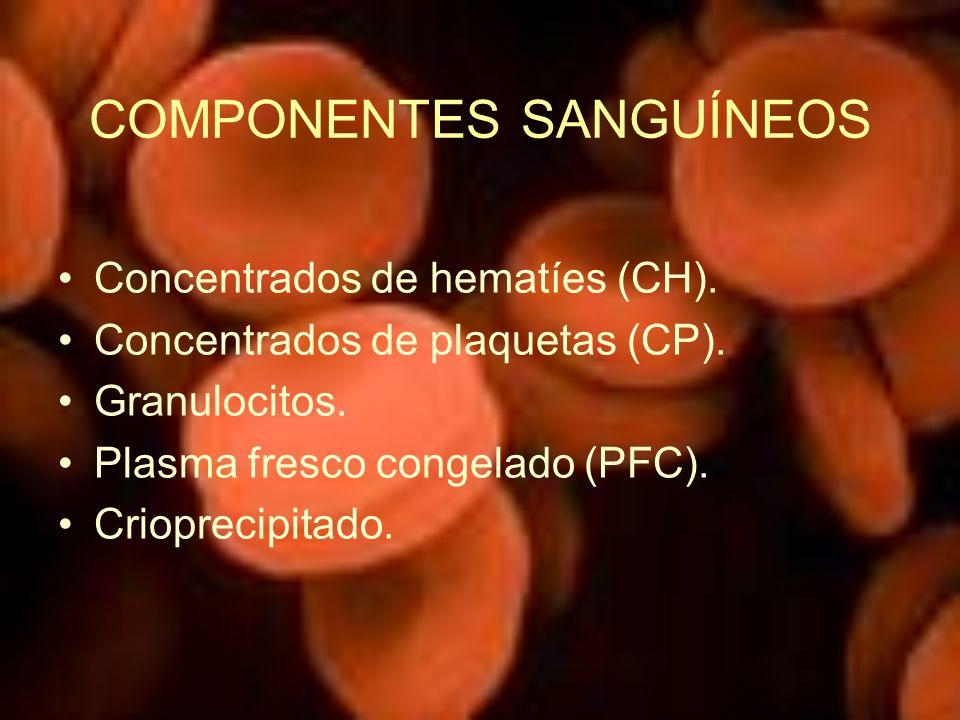 COMPONENTES SANGUÍNEOS Concentrados de hematíes (CH). Concentrados de plaquetas (CP). Granulocitos. Plasma fresco congelado (PFC). Crioprecipitado.